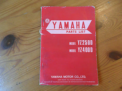 YAMAHA, Genuine OEM, Parts List, YZ 250/400D, 1st edition, Jan 1977