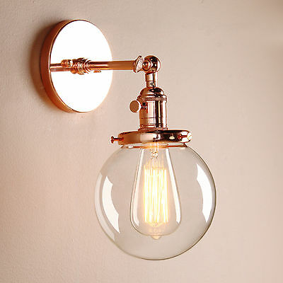 "5.9"" Decor Vintage Industrial Wall Lamp Sconce Globe Glass Shade Loft Wall Light"