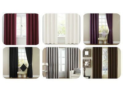 Plain Solid Ring Top Lined Pair Eyelet Curtains Bedroom Dining Room All Sizes