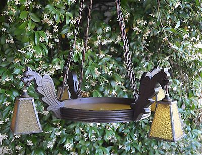 French Victorian Black Forest Carved Wood Chandelier Gothic Chimera Griffin Lamp