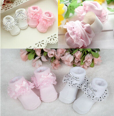 Dots Baby Girls Toddler Bowknot Ankle Socks Cotton Princess Lace Socks