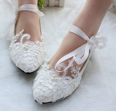 Womens Girls Handmade Lace Flowers Flat Heels Wedding Bridal Shoes Strappy A292
