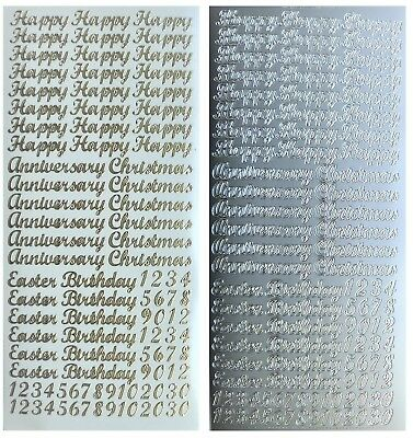 HAPPY BIRTHDAY CHRISTMAS ANNIVERSARY EASTER Peel Off Stickers Gold or Silver