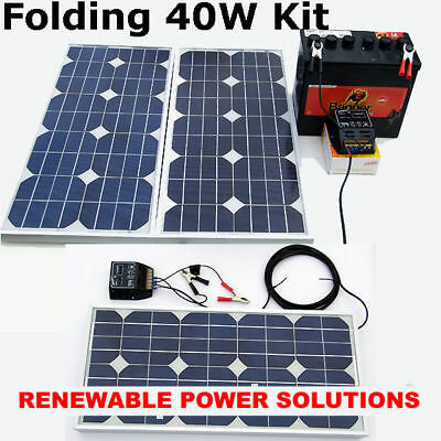 40 Watt Folding 12v or 24V Solar Panel kit + Regulator & Cable lorry RV horsebox