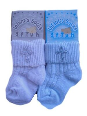 1 Pair Boys Girls Infant Christening Socks With Embroidered Cross 0-18 Months