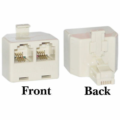 1x RJ11 2 Way Telephone Line Socket Splitter Adaptor, Male to 2x Female Doubler
