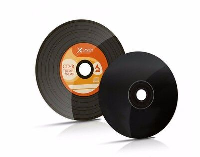 10 Xlayer Black Bottom Vinyl CD-R blank CD discs 48x 700MB Retro look