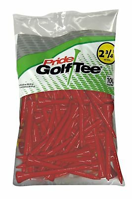 "Pride Sports Deluxe 100% Solid Hardwood Golf Tees - 2 3/4"" - 100 Count - Red"