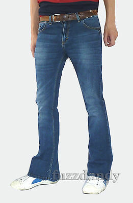Mens Stonewashed Faded denim bell bottom flares jeans vtg 60s 70s indie hippy