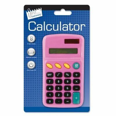 Just Stationery Pocket Calculator - 8 Digit Display Screen Assorted Colours
