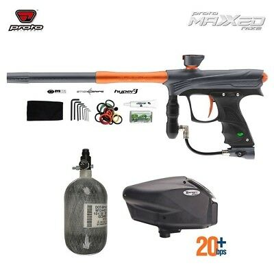 Paintball Package Proto RIZE MaXXEd - Grey/Orange w/ Tank and Hopper