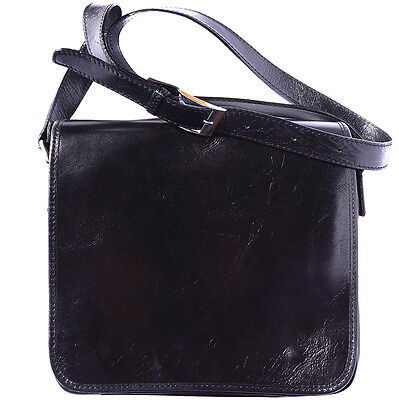 Shoulder Bag Italian Genuine Leather Hand made in Italy Florence 6551 nero