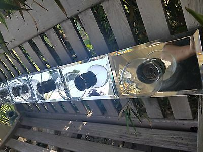 Vintage Vanity Bar Lighting Fixture 6 Beveled Hollywood Mirrors & Lights 1970s