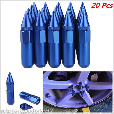 20PCS BLUE SPIKED ALUMINUM EXTENDED TUNER 60MM LUG NUTS For WHEELS/RIMS M12X1.5
