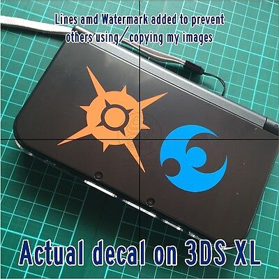 √ 1x POKEMON SUN AND POKEMON MOON LOGO DECAL FOR 3DS XL GAME CONSOLE √