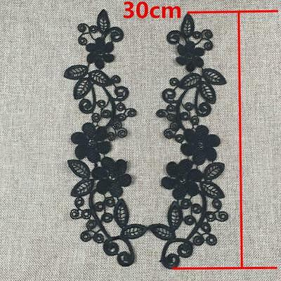 1Pair Embroidered Lace Applique Floral Wedding Lace Fabric Motif Patches