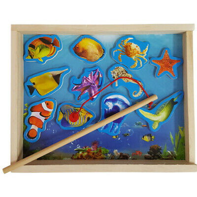 PRETEND PLAY FISHING Set Game Magnetic Rod WOODEN BOX Educational PRESCHOOL TOY