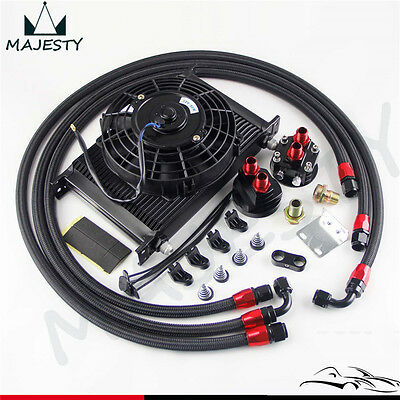 """25 Row AN8 Engine Oil Cooler /Filter Relocation hose + 7"""" Electric Fan Kit BK"""