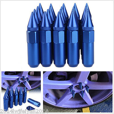 20Pcs Blue Aluminum Spiked Lugs Nuts Extended Tuner 60mm Wheels / Rims M12X1.5