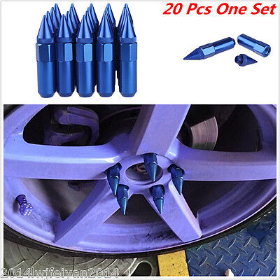 20Pcs Set M12X1.5 Blue Spiked Extended 60MM Aluminum Tuner Lugs Nuts Wheels/Rims