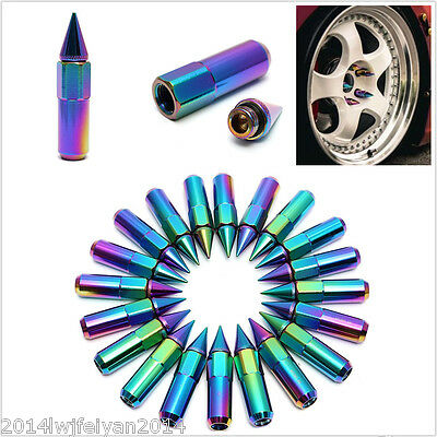 20Pc 60mm M12X1.5 Neo Chrome Aluminum Spiked Lug Nuts Extended Tuner Wheels/Rims