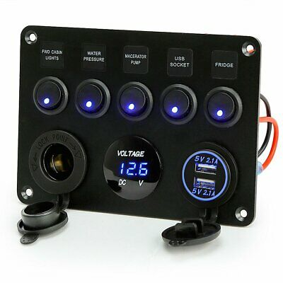Rupse 5 Gang ON-OFF Switch Panel Charger Voltmeter 12V For Boat Marine RV