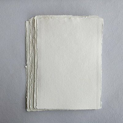 Khadi White Cotton Paper Pack 640gsm A5 50 Sheets. Artists Handmade Paper.