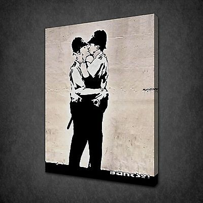 Banksy Kissing Coppers Graffiti Art Canvas Print Picture Poster Wall Decor