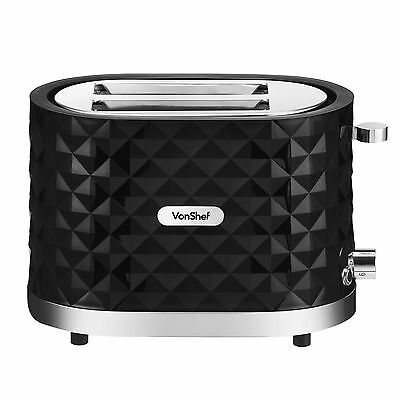 VonShef 1000W Black 2 Slice Diamond Wide Slot Toaster with Anti-Jam Function