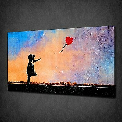 Banksy Red Balloon Girl Blue Orange Canvas Print Art Picture Poster Wall Decor