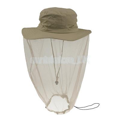 Outdoor Wide Brim Hat with Mosquito Midge Mesh Net Face Neck Mask - Khaki