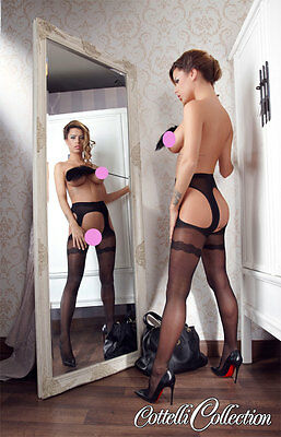 Sexy Collant Cottelli Collection Black Strip Tights Suspender Stockings