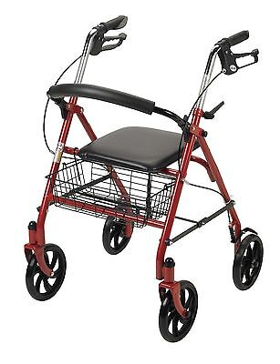 "Durable 4 Wheel Rollator 8"" Wheels by Drive Medical Adult Walker Portable Chair"