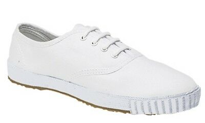 Boys Girls Unisex White Canvas School Shoes PE Pumps Plimsoll Plims Lace Up New