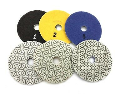 4 inch 3 STEP Wet/Dry Diamond Polishing Pads for Marble Granite Stone Concrete