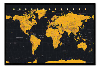 World Map In Black & Gold Magnetic Notice Board Includes Magnets