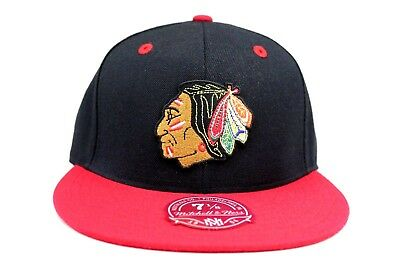 Chicago Blackhawks Black Scarlet Red Red Under NHL Mitchell & Ness Fitted Hat