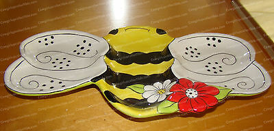 """30161 - 11"""" Ceramic Sectioned Server, Candy Dish (To Bee, Not to Bee) Bumble Bee"""