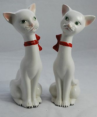 Vintage Pair of Italian Hand Painted Long Neck Porcelain Cat Figurines / Italy