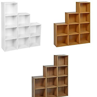 Multiple Tier Wooden Bookcase Shelving Display Shelves Storage Unit Shelf Cubes
