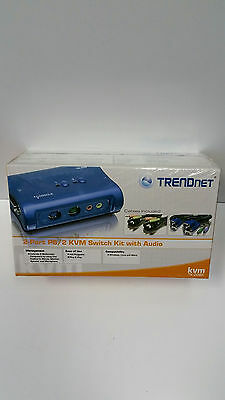**NEW IN BOX** TRENDnet TK (TK208K) 2-Ports External KVM switch PS/2 with Audio