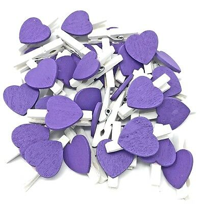 30mm White Peg and 17mm Yellow Wood Hearts Craft For Shabby Chic Vintage Wedding