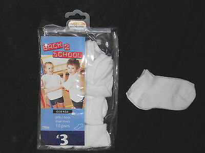 pack of 10 unisex white shoe liner socks 2-3 years (RJJ36.50)