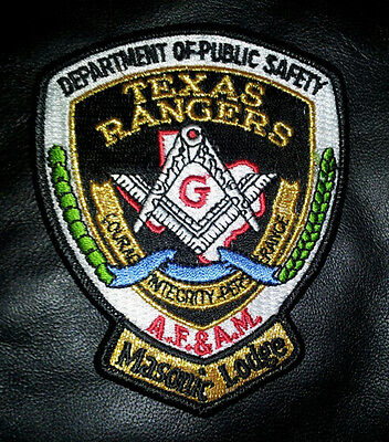 Texas Rangers Masonic Embroidered Masonic Lodge Police  Patch