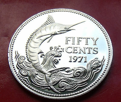 PROOF 1971  Bahamas 800 Silver Fifty Cents Marlin, Nice all around!
