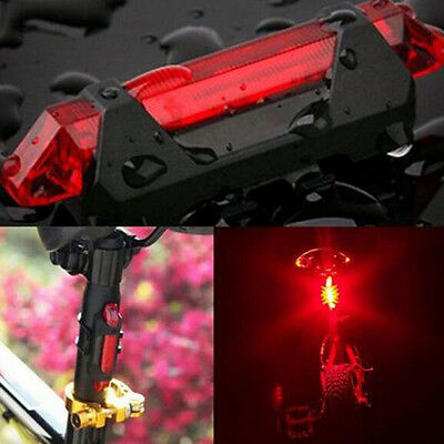 Safety Warning 5 LED USB Rechargeable Bike Bicycle Cycling Tail Rear Light Lamp