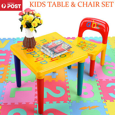 NEW Kids Children Activity Playing Fun ABC Alphabet Learn Table and Chair Set