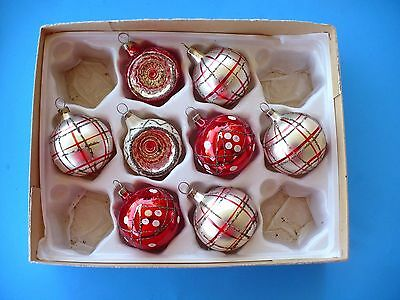 8 Vintage Christmas Small Painted W/mica Indent Glass Ornaments Czechoslovakia