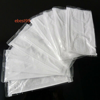 50pcs Disposable Surgical Medical Flu Face Mask Bacterial Filter Dust-Anti White