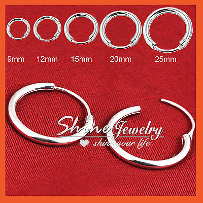 925 Sterling Silver Men Women Kid Hoop Huggie Sleeper Earrings Ear Body Piercing